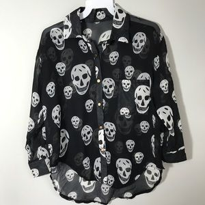 Tops - Sheer black skull print top